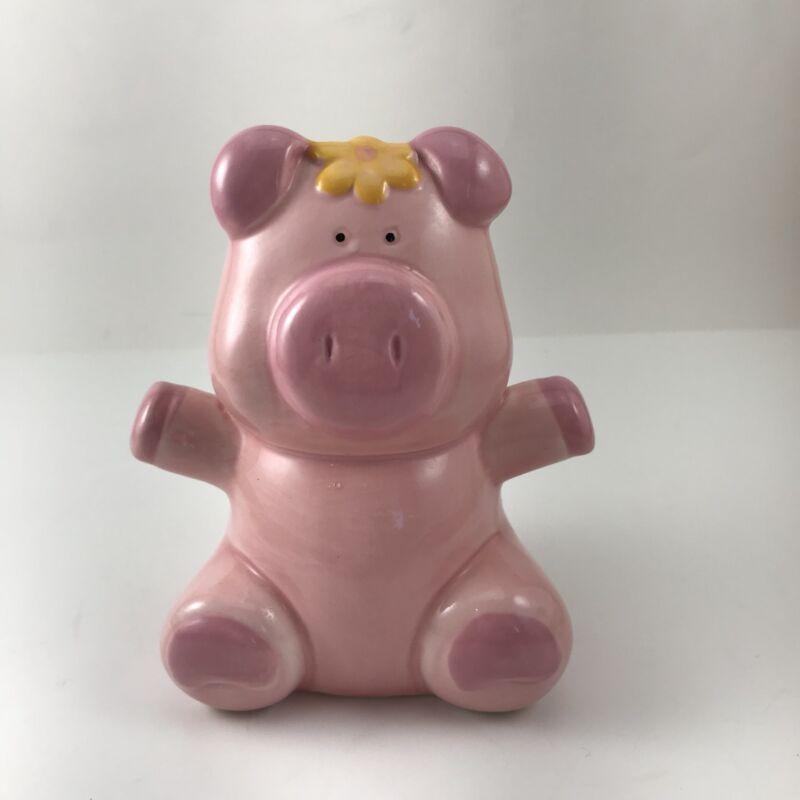 "Piggy Bank Small Ceramic Pink Pig 5"" Coin Bank"