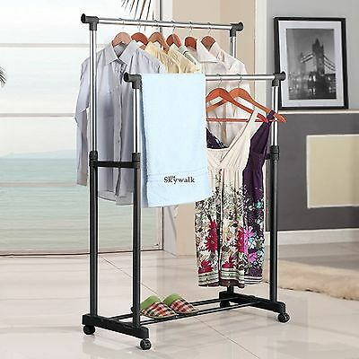 Portable Double Rolling Rail Adjustable Clothes Garment Rack Hanger Hanging Hot