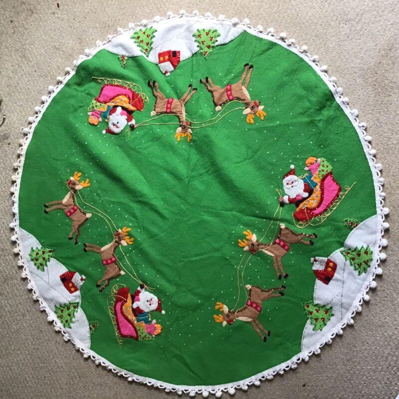 Bucilla Felt Merry Christmas Tree Skirt Table Cover Santa & Reindeer Completed