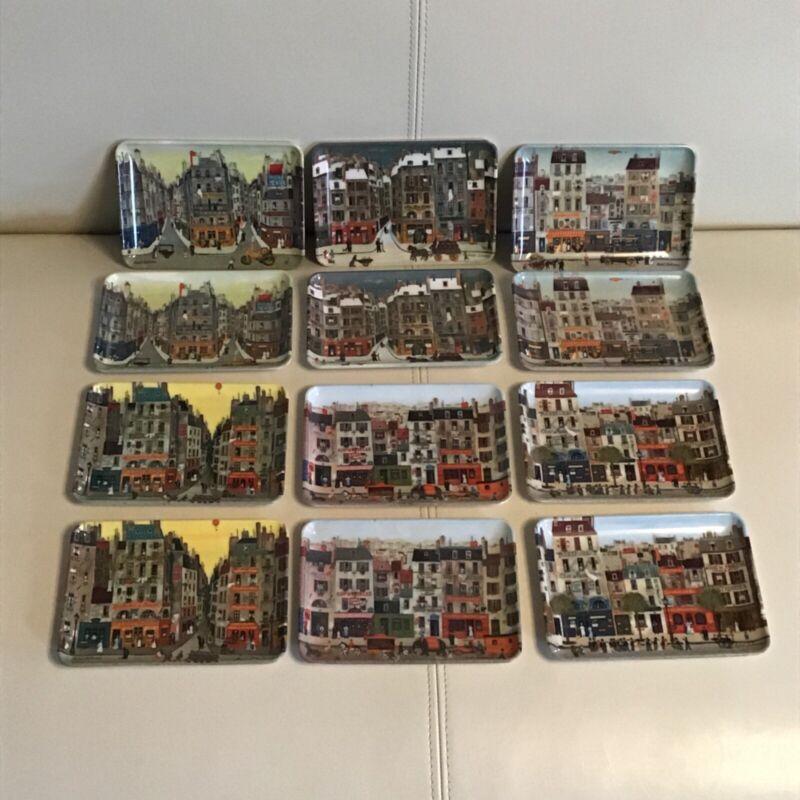 Michel Delacroix French Parisian Cityscapes Melamine 12 Plate set Montage USA