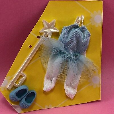 BARBIE KELLY DOLL CLOTHES Blue Ballerina Fairy Outfit Tutu Tights Wand Shoes Y11