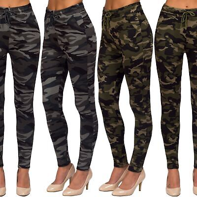 Women's Camouflage Military High Waist Casual Drawstring Joggers Pants Leggings