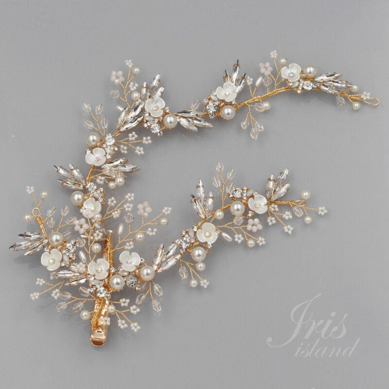 Bridal Pearl Clear Crystal Headpiece Clip Floral Wedding Accessory 6166 GOLD
