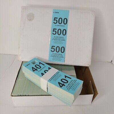 Winco Numbered Perforated Ticket Claim Coat Check 500 Pc Kit Blue Cck-5bl