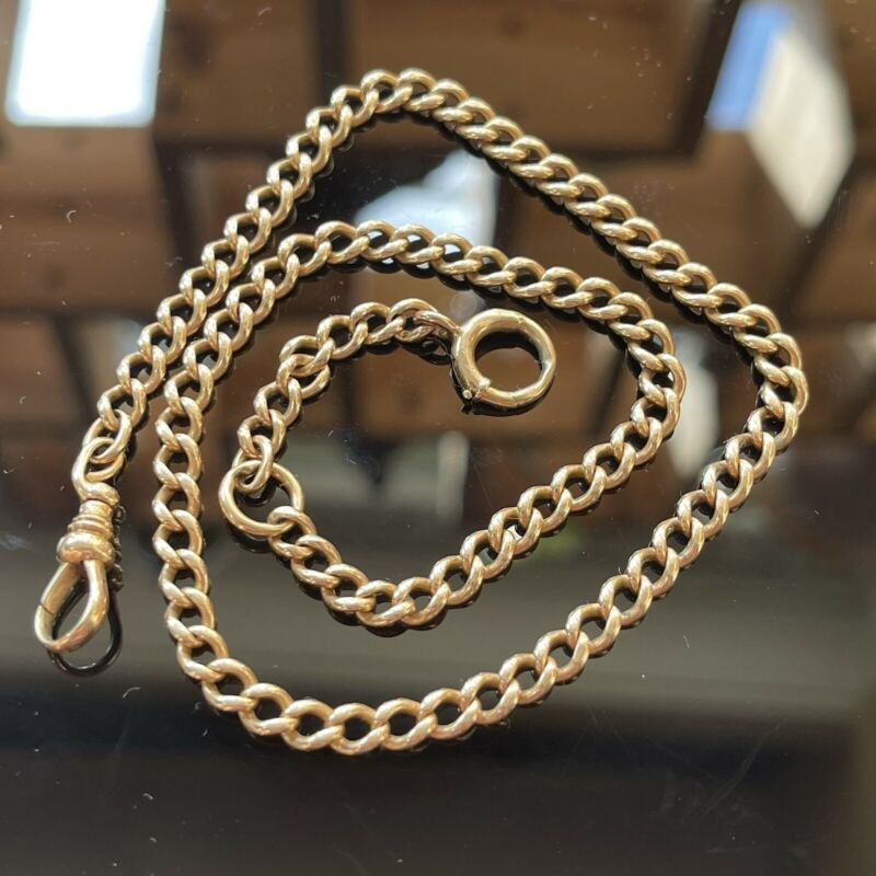 ANTIQUE SOLID 14K YELLOW GOLD WATCH CHAIN WITH FOB CHARM HOLDER 19.41 Grams 5mm