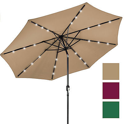 Best Choice Products 10' Deluxe Solar LED Lighted Patio Umbrella With Tilt Adjus