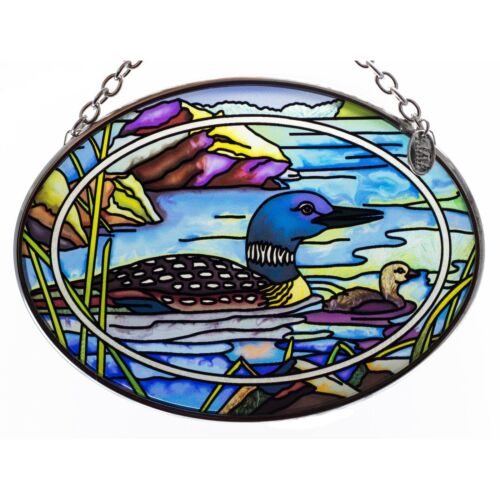 "Tranquil Water Loons Suncatcher Hand Painted Glass By AMIA Studios 4.5"" x 3.25"""