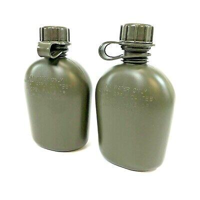 2 Pack USGI 1 Quart Canteen, US Military Heavy Duty Plastic Bottle, Olive Drab