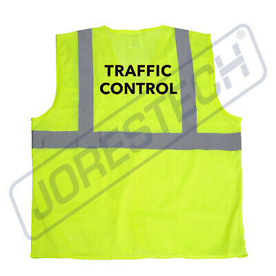 Safety Vest Traffic Control Printed Pocket Class 2 Reflective High Vis Jorestech