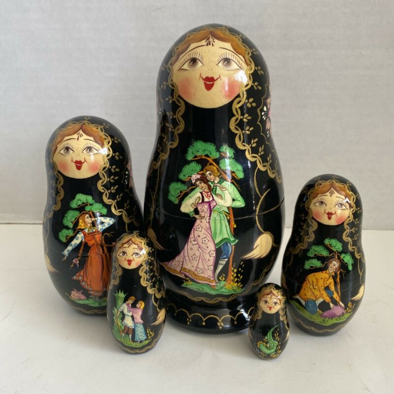 Vintage Russian Matryoshka Nesting Dolls Hand Painted SIGNED 5 pc Fairy tale