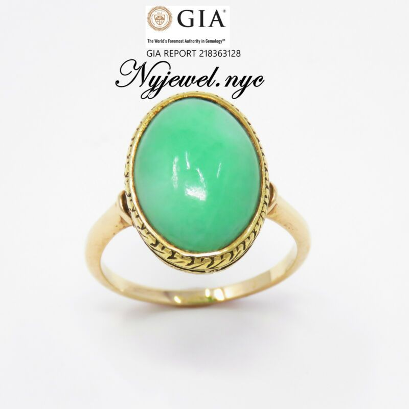NYJEWEL GIA Certified 14K Yellow Gold Imperial Jadeite A Jade Ring