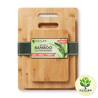 Set of 3 Bamboo Cutting Boards with Handles Kitchen Wood Carving Chopping Blocks - Blocks Of Wood