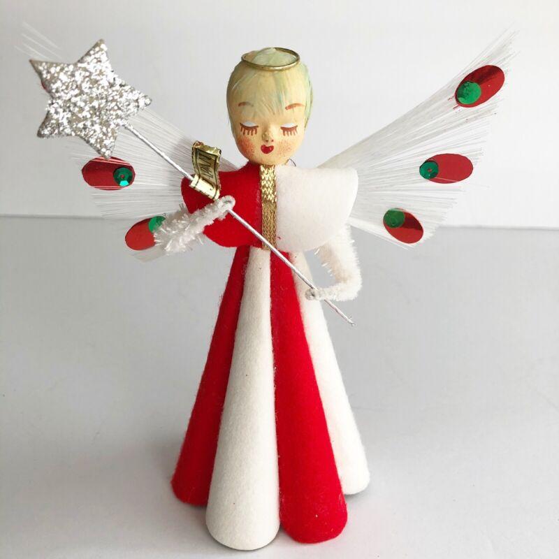 VINTAGE CHRISTMAS ANGEL PAPER MACHE FELT CHENILLE ORNAMENT FEATHER TREE TOPPER