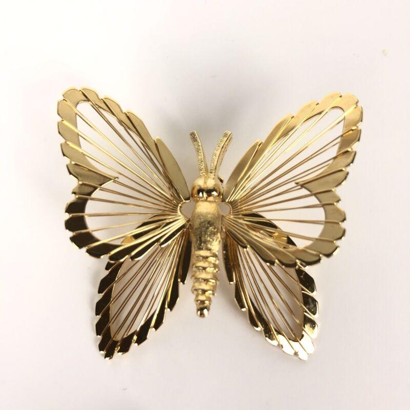 Vintage Monet Butterfly Brooch Pin Gold Tone Wire Work Wings