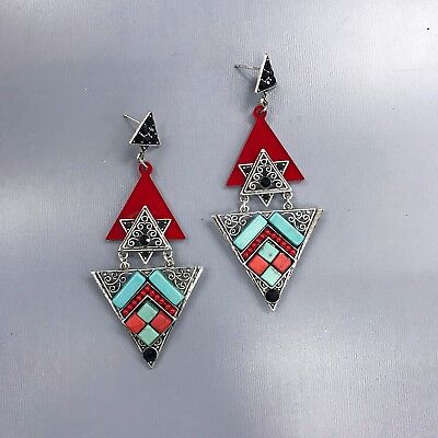Silver Finish Triangle Shape Red Turquoise Black Stone Design Dangle Earrings ()