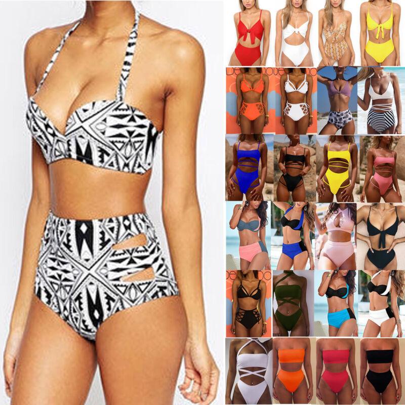Damen High Waist Bikini Push-Up Monokinis Bademode Badeanzug Strand Schwimmanzug