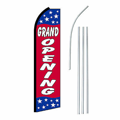 Grand Opening Stars Advertising Feather Flutter Swooper 2.5 Banner Flag And Pole
