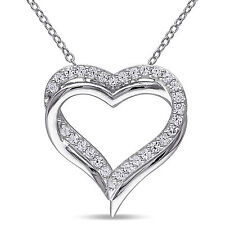 Sterling Silver Created White Sapphire Double Heart Pendant Necklace