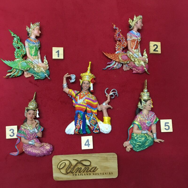 Thai souvenir collectibles handmade hand painted resin lot of 5 pieces as shown