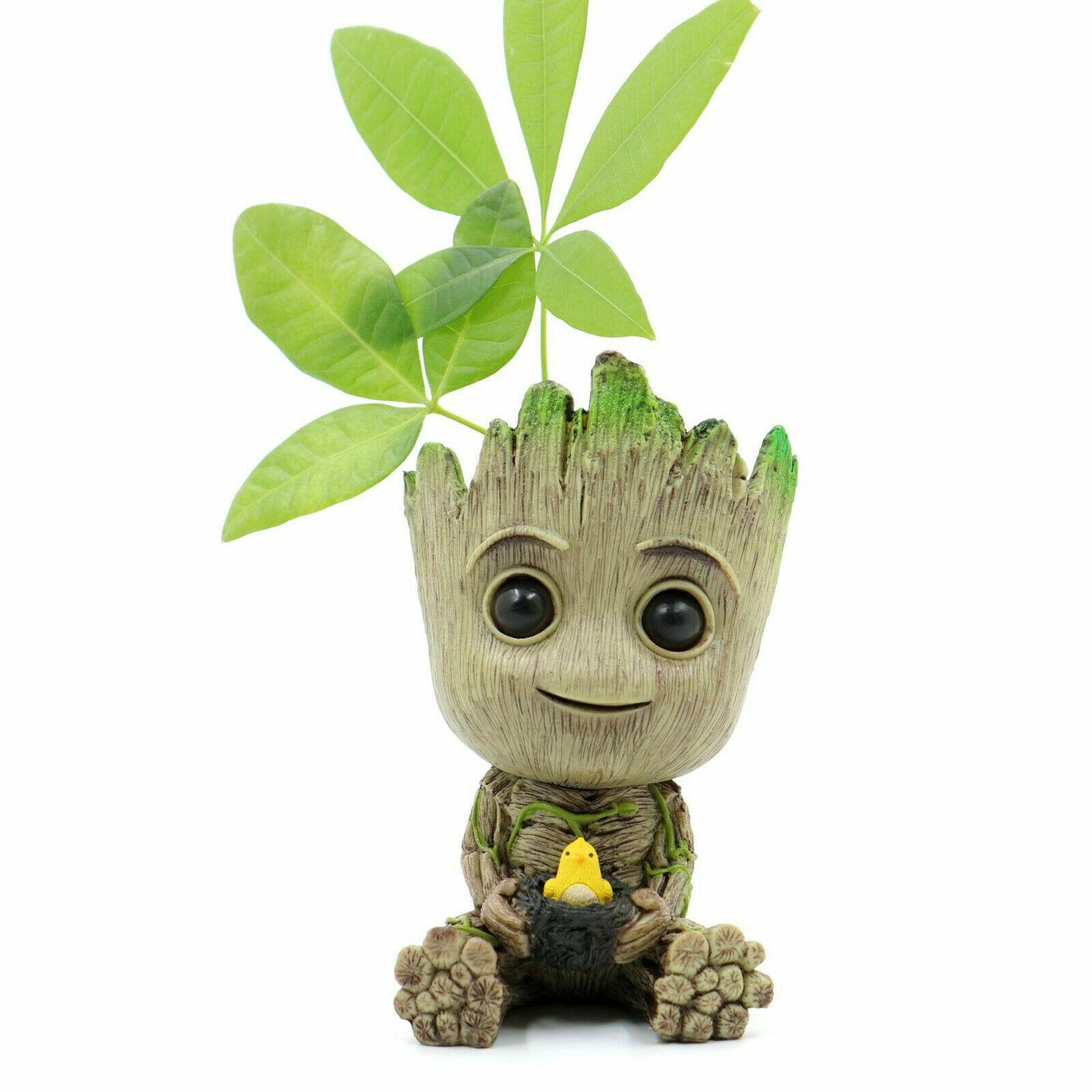 18CM Avengers Cute Baby Groot Figure Flowerpot Style Pen Pot Desk Toy Decor WS