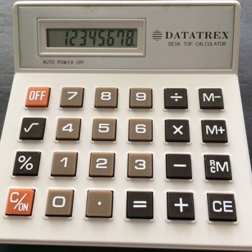 Vtg Desktop Calculator LCD Datatrex Auto Off Basic Function Battery Taiwan