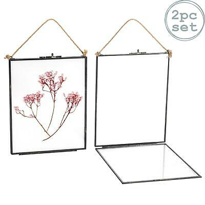 Hanging Photo Frame Vintage Glass Picture Wall Display 8x10 Photos - Pack of 2