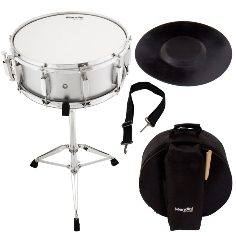 Mendini Student Silver Snare Drum Set with Gig Bag+Sticks+Stand+Practice Pad Kit