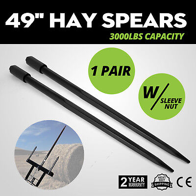 Two 49 3000 Lbs Hay Spears Nut Bale Spike Fork Pair Load Sleeve Included Conus