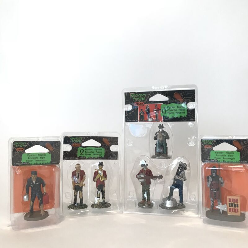 Lemax Spooky Town Band of Two, Jugband, Zombie Mechanic, Executioner Lot of 4
