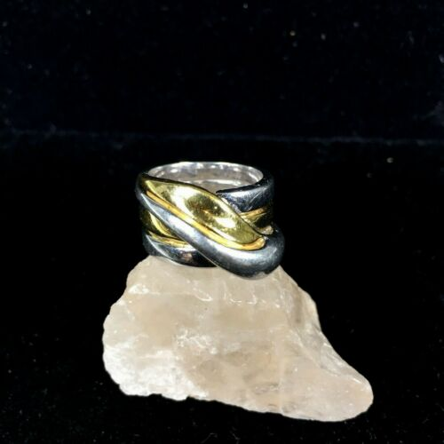 Vintage Sterling Silver Ring Modernist Wrap Heavy Two Tone Ribbed Boho Sz 6 925
