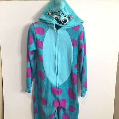Disney Monsters Inc Sully One Piece Pajamas Sleeper Sz S Hoodie