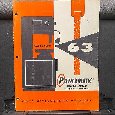 Vtg Powermatic Machine Co Catalog Metalworking Bandsaw Sander Grinder Drills