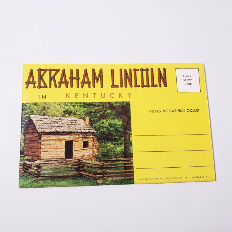 Vintage Abraham Lincoln In Kentucky Souvenir Postcard Photo Booklet