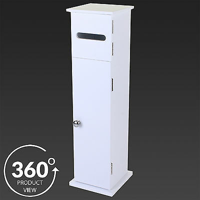 Toilet Roll Holder White Wooden Free Standing Paper Storage Bathroom Cabinet NEW