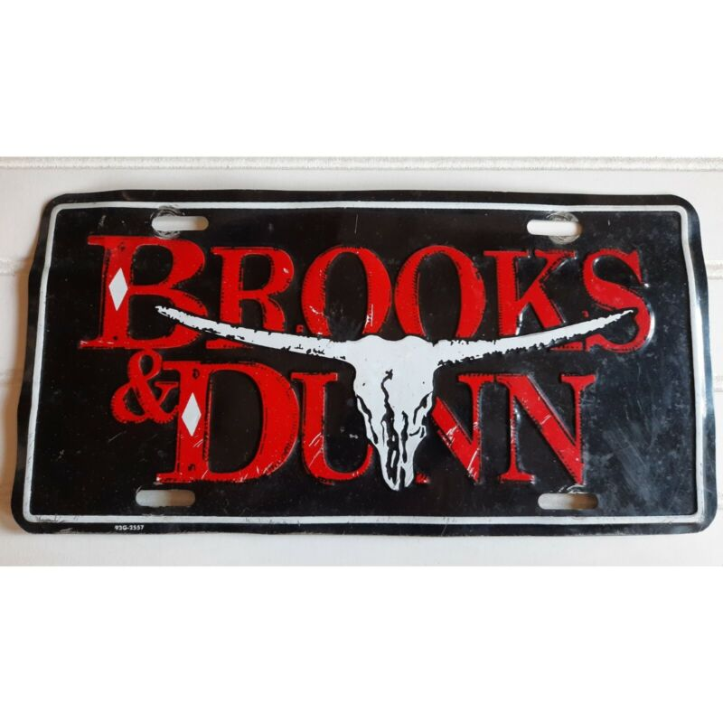Brooks & Dunn Booster License Plate Country Music Tour Red Black