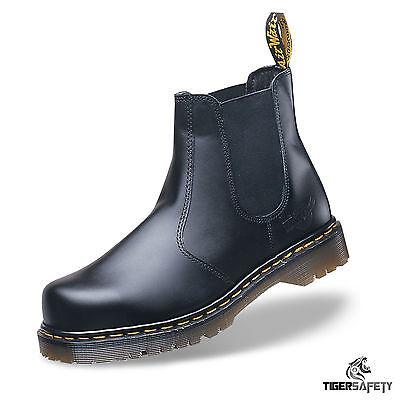 Dr Martens DM Docs Icon 2228 Black Chelsea Dealer Steel Toe Cap Safety Boots PPE Dr Martens Black Steel Toe Boots