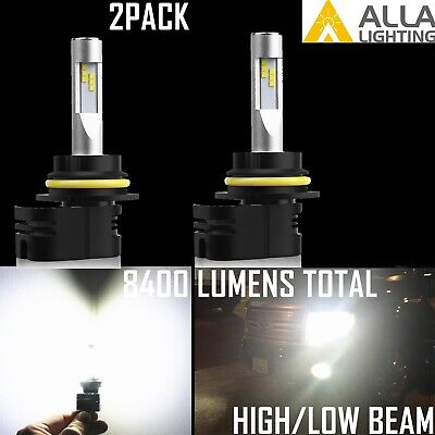 Alla Lighting 9007 LED White Headlight Bulb Upgrade,Angled Base Fit Small Space (Base Small Reflector Bulb)