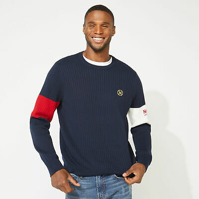 Nautica Mens Nautica Jeans Co. Arm Band Sweater