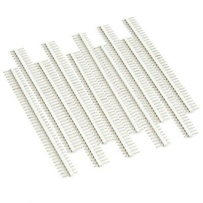 10pcs Male Header 1x40 2.54mm 40 Pin Pcb Through Hole Arduino And Pi White