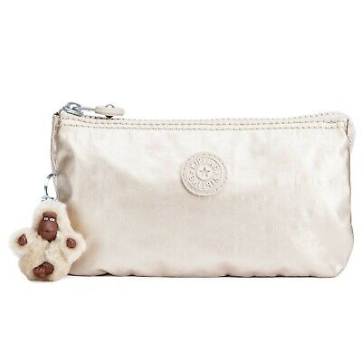 KIPLING Creativity Large Pouch Cosmetic Case  Cloud Metallic  AC7248  Nwt