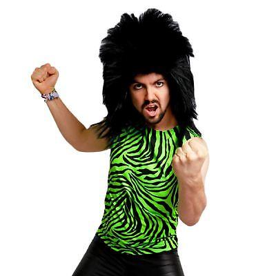 Neon 80's Heavy Metal GLAM Rock Bon Jovi Green Zebra Spandex Costume Tank Top