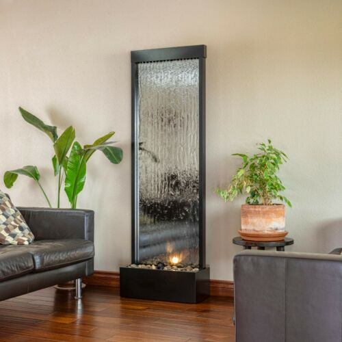 Large Mirror Waterfall Fountain Indoor Free Standing Stones Light Zen Chi Relax