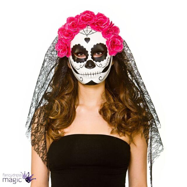 Ladies Halloween Day of the Dead Sugar Skull Mask Veil Fancy Dress Accessory
