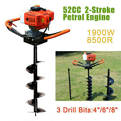 52cc Post Hole Digger Gas Powered Earth Auger Borer Fence Ground3 Drill Bits