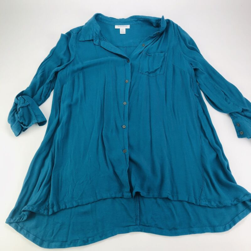 Motherhood Maternity Button down Shirt Blouse Blue Size M