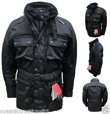 Black CE Armoured Motorcycle Bike Wind Waterproof Thermal Vented Cordura Jacket
