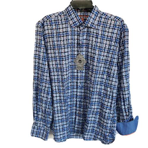Luchiano Visconti Black Mens Button Down Shirt Medium L/S Blue Flip Cuff $125 Casual Button-Down Shirts