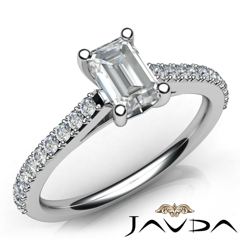 Double Prong Emerald Natural Diamond Engagement White Gold Ring Gia F Vs2 0.80ct