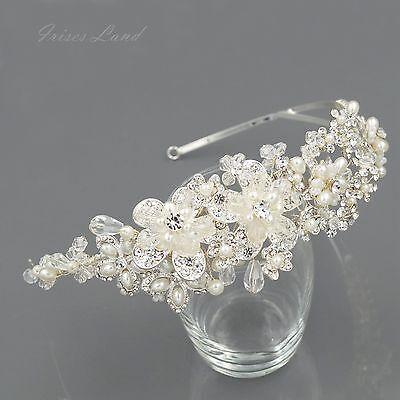 Crystal Pearl Flower Headband Headpiece Tiara Bridal Wedding Accessory 00399 S