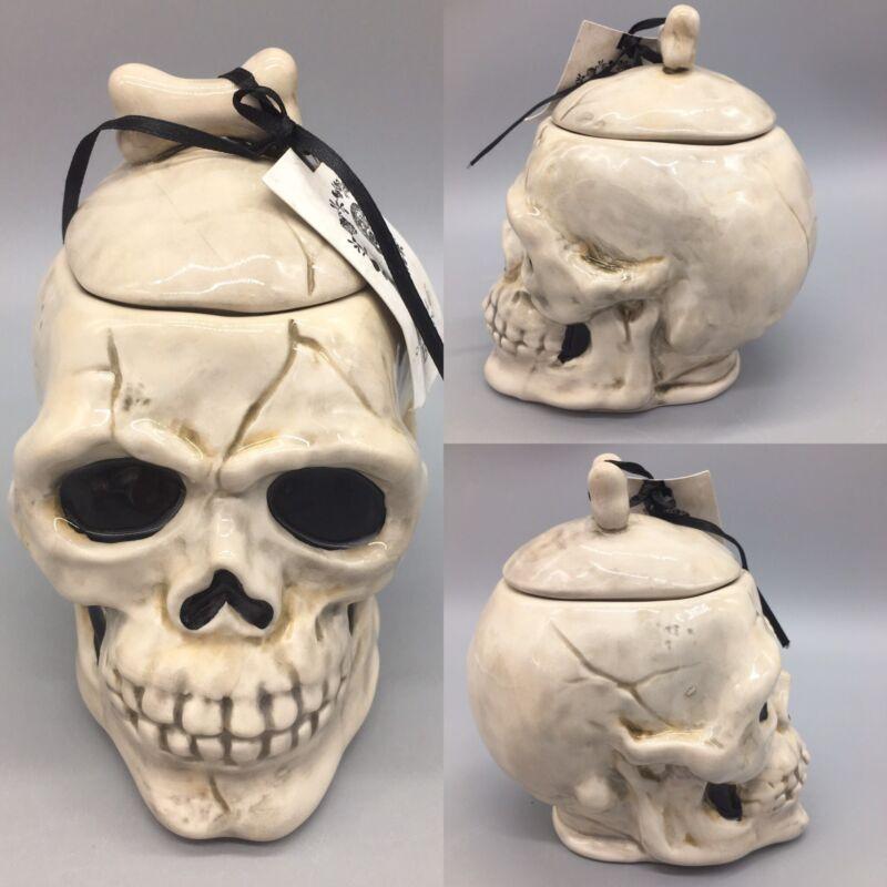 Blue Sky Clayworks Halloween Sugar Treat Candy Jar Skull Bones Spider Gray NEW
